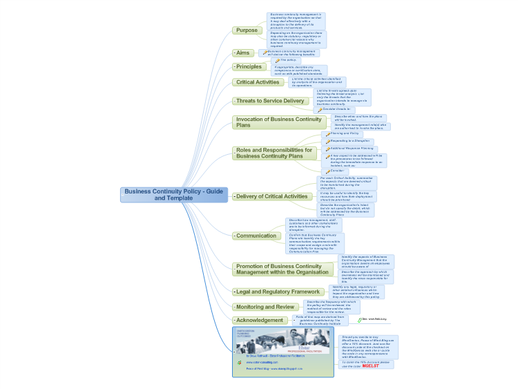 MindGenius: Business Continuity Policy - Guide And Template Mind Map