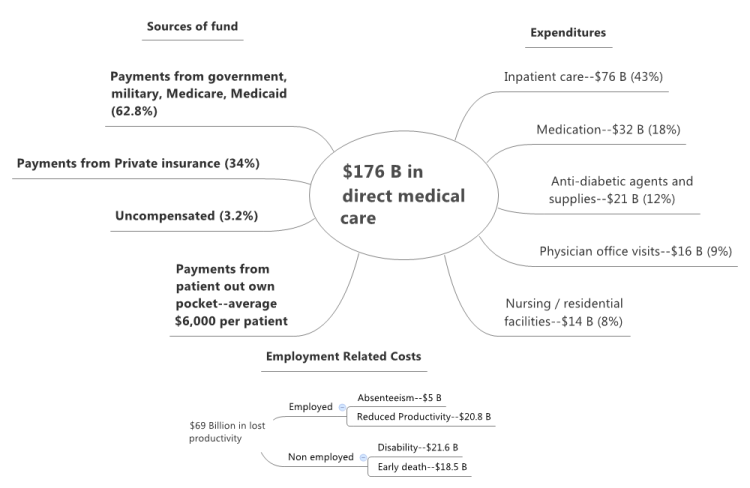 Payers and expenditures for diabetes, productivity costs