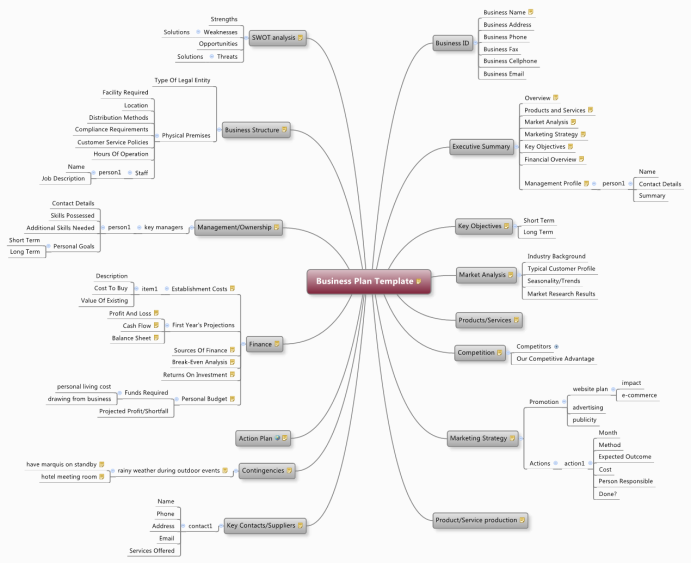 XMind: Business Plan Template Mind Map