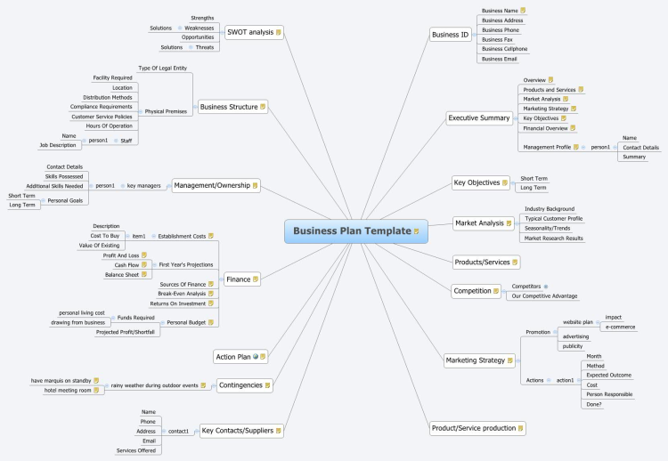 XMind: Business Plan Template mind map | Biggerplate
