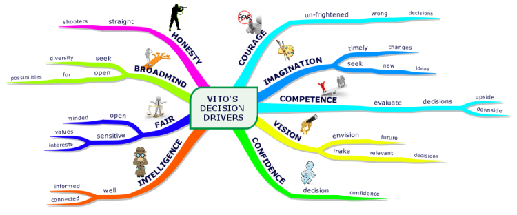 The nine values that drive VITO's (Very Important Top Officer) decisions