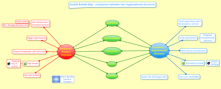 Double Bubble Map : comparison between two organisational structures