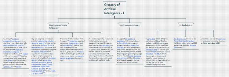 Glossary of Artificial Intelligence - L