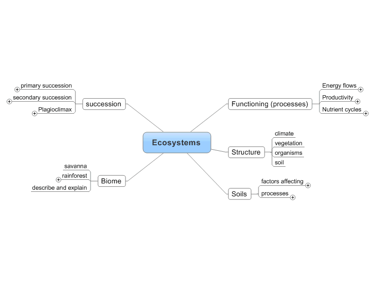 mindmanager  physical geograhy  ecosystems mind map