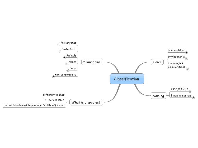 Mindmanager Biological Classifications Mind Map Mind Map