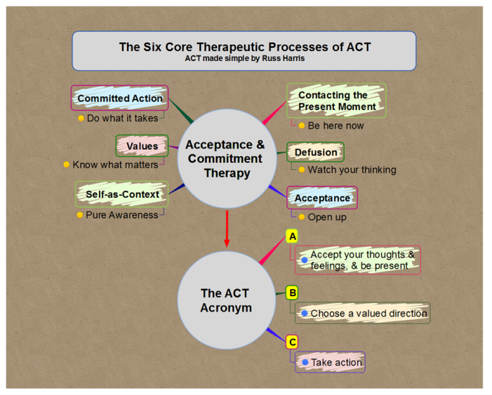 The Six Core Therapeutic Processes of ACT (Acceptance & Commitment Therapy)