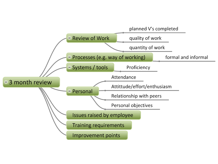 Employee 3 Month Review mind map | Biggerplate